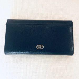 Vince Camuto Aja Flap Black Leather Clutch Wallet